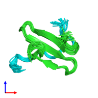PDB 2ltx coloured by chain and viewed from the side.