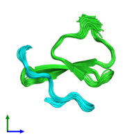 PDB 2lty coloured by chain and viewed from the front.