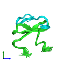 PDB 2ltz coloured by chain and viewed from the front.