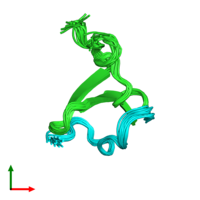 PDB 2ltz coloured by chain and viewed from the top.