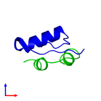 Dimeric assembly 1 of PDB entry 2m1e coloured by chemically distinct molecules and viewed from the side.