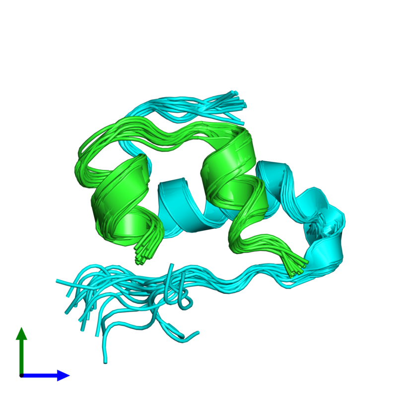 <div class='caption-body'><ul class ='image_legend_ul'>The deposited structure of PDB entry 2m1e coloured by chain and viewed from the front. The entry contains: <li class ='image_legend_li'>1 copy of Insulin A chain</li><li class ='image_legend_li'>1 copy of Insulin B chain</li><li class ='image_legend_li'>There are no non-polymeric molecules</li></ul></li></ul></li></div>