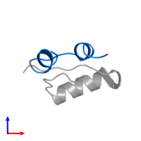 PDB 2m1e contains 1 copy of Insulin A chain in assembly 1. This protein is highlighted and viewed from the side.