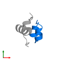 PDB 2m1e contains 1 copy of Insulin A chain in assembly 1. This protein is highlighted and viewed from the top.