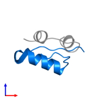 PDB 2m1e contains 1 copy of Insulin B chain in assembly 1. This protein is highlighted and viewed from the side.