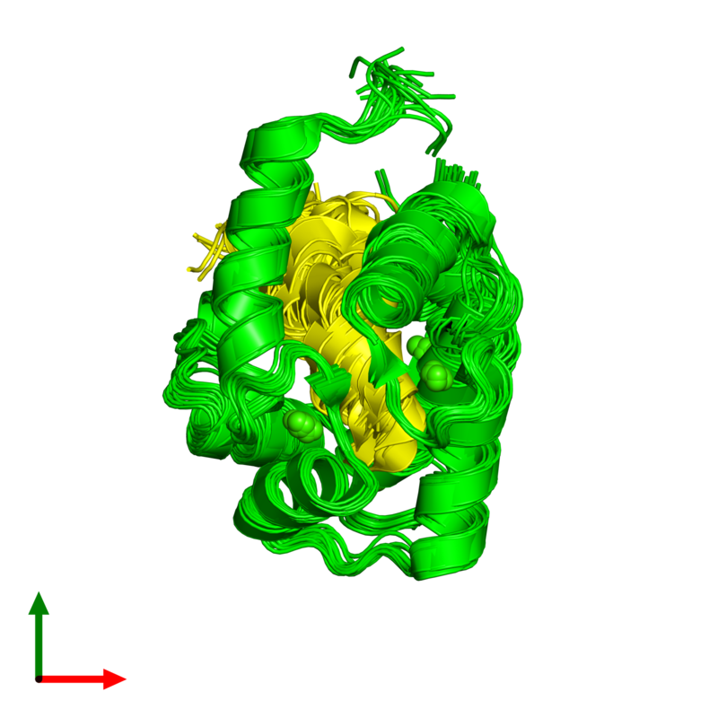 <div class='caption-body'><ul class ='image_legend_ul'>The deposited structure of PDB entry 2m55 coloured by chemically distinct molecules and viewed from the top. The entry contains: <li class ='image_legend_li'>1 copy of Calmodulin-1</li><li class ='image_legend_li'>1 copy of Alpha-synuclein</li><li class ='image_legend_li'>There is 1 non-polymeric molecule<ul class ='image_legend_ul'><li class ='image_legend_li'>4 copies of CALCIUM ION</li></ul></li></div>