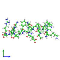 PDB 2md1 coloured by chain and viewed from the side.