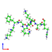 PDB 2md3 coloured by chain and viewed from the front.