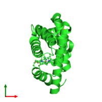 PDB 2mgd coloured by chain and viewed from the top.