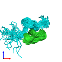 PDB 2mpg coloured by chain and viewed from the side.