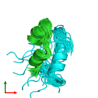 PDB 2mpg coloured by chain and viewed from the top.