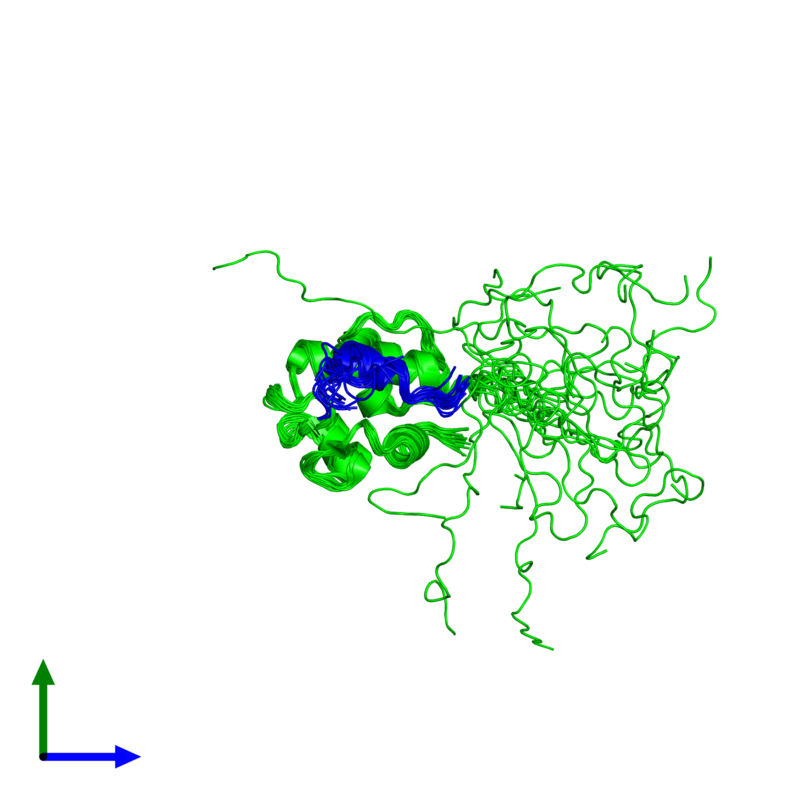 <div class='caption-body'><ul class ='image_legend_ul'>The deposited structure of PDB entry 2mps coloured by chemically distinct molecules and viewed from the side. The entry contains: <li class ='image_legend_li'>1 copy of E3 ubiquitin-protein ligase Mdm2</li><li class ='image_legend_li'>1 copy of Tumor protein p73</li><li class ='image_legend_li'>There are no non-polymeric molecules</li></ul></li></ul></li></div>