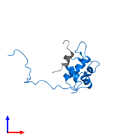 PDB 2mps contains 1 copy of E3 ubiquitin-protein ligase Mdm2 in assembly 1. This protein is highlighted and viewed from the front.