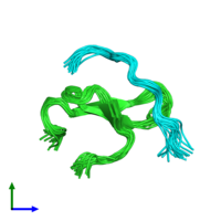 PDB 2mpt coloured by chain and viewed from the front.