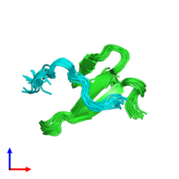 PDB 2mpt coloured by chain and viewed from the side.