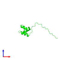Monomeric assembly 1 of PDB entry 2myx coloured by chemically distinct molecules and viewed from the front.