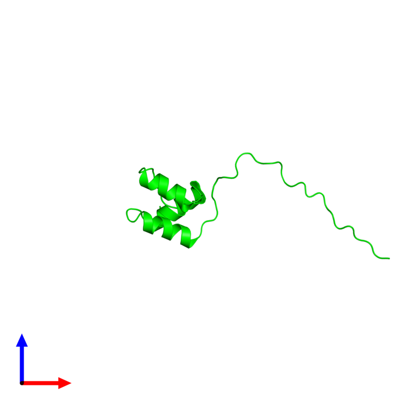 <div class='caption-body'><ul class ='image_legend_ul'> Monomeric assembly 1 of PDB entry 2myx coloured by chemically distinct molecules and viewed from the front. This assembly contains:<li class ='image_legend_li'>One copy of Coupling of ubiquitin conjugation to ER degradation protein 1</li></ul></div>