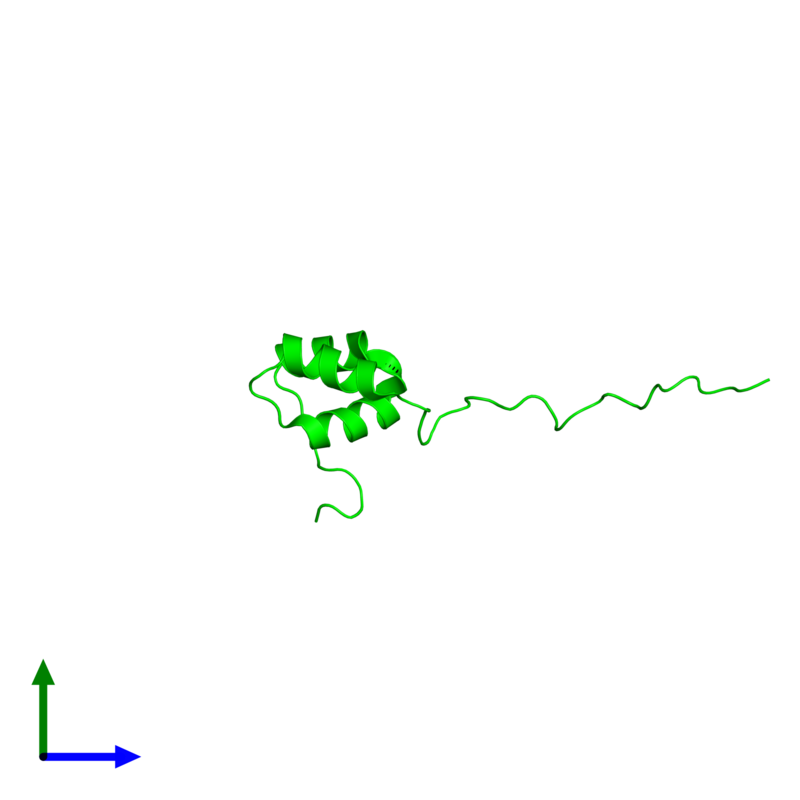 <div class='caption-body'><ul class ='image_legend_ul'> Monomeric assembly 1 of PDB entry 2myx coloured by chemically distinct molecules and viewed from the side. This assembly contains:<li class ='image_legend_li'>One copy of Coupling of ubiquitin conjugation to ER degradation protein 1</li></ul></div>