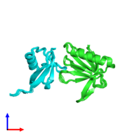 PDB 2nbv coloured by chain and viewed from the front.