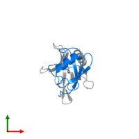 PDB 2nbv contains 1 copy of Ubiquilin-2 in assembly 1. This protein is highlighted and viewed from the top.