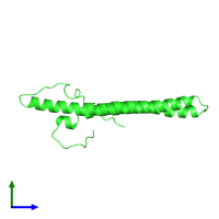 PDB 2nca coloured by chain and viewed from the side.