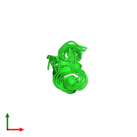 PDB 2nde coloured by chain and viewed from the top.