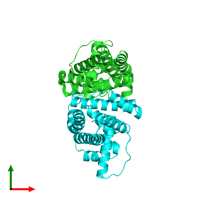 PDB 2pbx coloured by chain and viewed from the top.