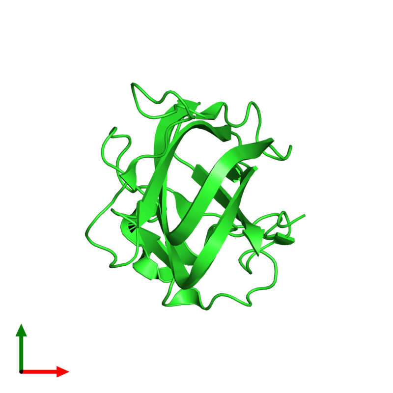<div class='caption-body'><ul class ='image_legend_ul'> Monomeric assembly 2 of PDB entry 2pqs coloured by chain and viewed from the top. This assembly contains:<li class ='image_legend_li'>One copy of Lactadherin</li></ul></div>