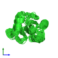 PDB 2prf coloured by chain and viewed from the side.
