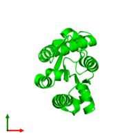 Monomeric assembly 1 of PDB entry 2pt5 coloured by chemically distinct molecules and viewed from the top.