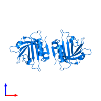 PDB 2q2m contains 2 copies of Beta-lactoglobulin in assembly 1. This protein is highlighted and viewed from the side.