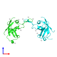 PDB 2r2o coloured by chain and viewed from the front.