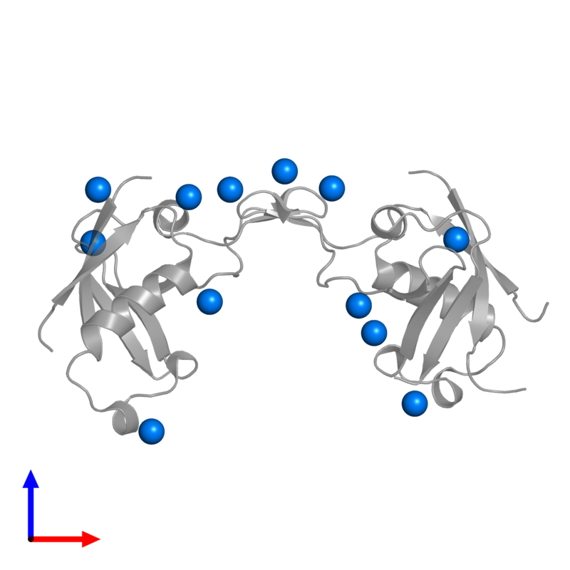 <div class='caption-body'>PDB entry 2r2o contains 12 copies of UNKNOWN ATOM OR ION in assembly 1. This small molecule is highlighted and viewed from the front.</div>