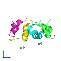 PDB 2r34 coloured by chain and viewed from the side.