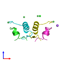 PDB 2r36 coloured by chain and viewed from the side.