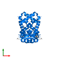 PDB 2rdp contains 2 copies of HTH marR-type domain-containing protein in assembly 1. This protein is highlighted and viewed from the top.