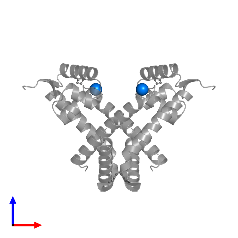 <div class='caption-body'>PDB entry 2rdp contains 2 copies of SODIUM ION in assembly 1. This small molecule is highlighted and viewed from the front.</div>