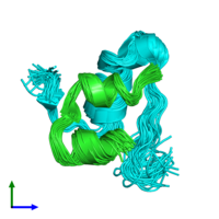 PDB 2rn5 coloured by chain and viewed from the front.