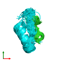 PDB 2rn5 coloured by chain and viewed from the top.