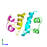 PDB 2tci coloured by chain and viewed from the front.