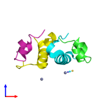 PDB 2tci coloured by chain and viewed from the side.