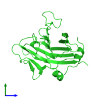 PDB 2v24 coloured by chain and viewed from the front.