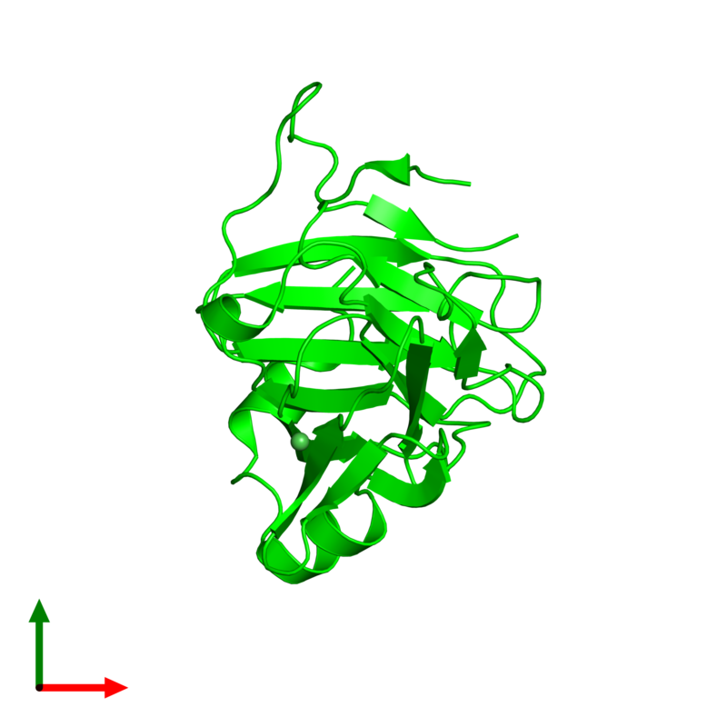 <div class='caption-body'><ul class ='image_legend_ul'>The deposited structure of PDB entry 2v24 coloured by chemically distinct molecules and viewed from the top. The entry contains: <li class ='image_legend_li'>1 copy of SPRY domain-containing SOCS box protein 4</li><li class ='image_legend_li'>There is 1 non-polymeric molecule<ul class ='image_legend_ul'><li class ='image_legend_li'>1 copy of NICKEL (II) ION</li></ul></li></div>
