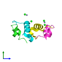 PDB 2vjz coloured by chain and viewed from the side.