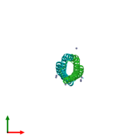 PDB 2vrz coloured by chain and viewed from the top.