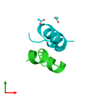 PDB 2wru coloured by chain and viewed from the top.