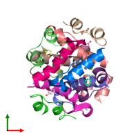 PDB 2ws6 coloured by chain and viewed from the top.