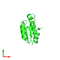 PDB 2wz9 coloured by chain and viewed from the top.
