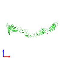 PDB 2x10 coloured by chain and viewed from the front.