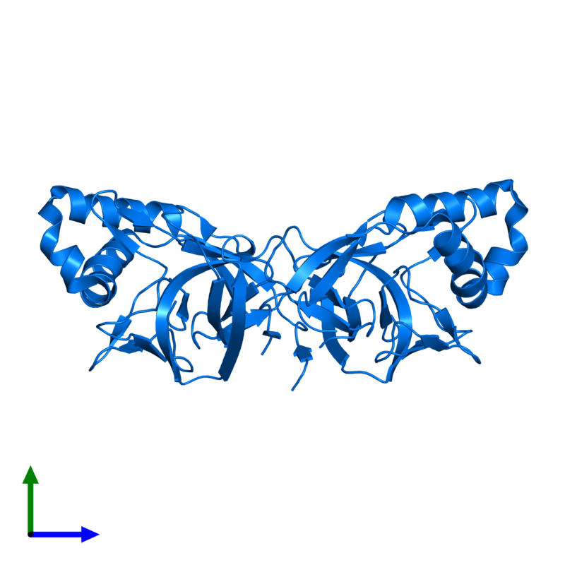 <div class='caption-body'>PDB entry 2x5q contains 2 copies of SSO1986 in assembly 1. This protein is highlighted and viewed from the side.</div>